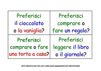 Task cards for preference & opinions  in Italian Wishlist priced