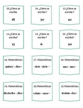 Task cards hora, números, las estaciones, weather, classroom objects