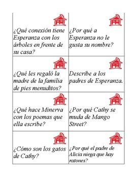 Task cards in Spanish for La casa en Mango Street