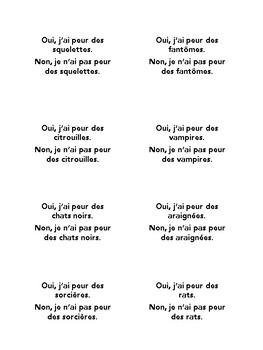 Task cards, quiz quiz trade, Halloween, speaking practice in French