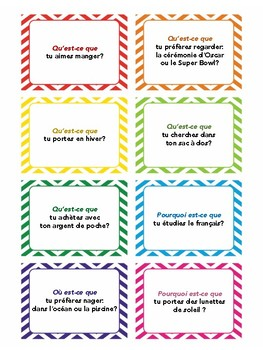 Task cards, quiz quiz trade, question words, speaking practice in French