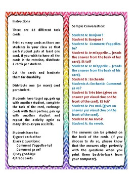 Task cards, quiz quiz trade, salutations, greetings, speaking in French