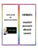 Task cards, quiz quiz trade, vouloir, pouvoir, devoir, savoir, speaking, French