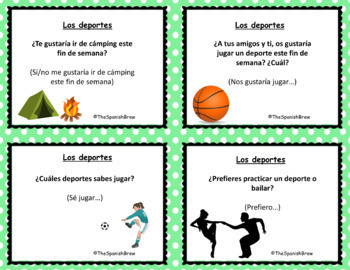 Speaking cards sports, deportes Spanish 1 (Realidades 4B)