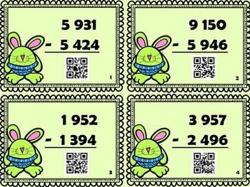 4-digit Subtraction Task Cards with QR Code