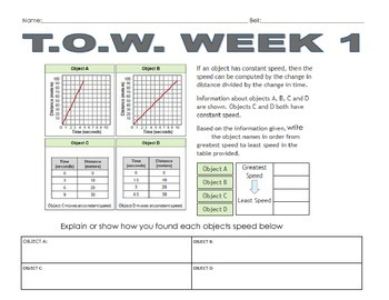 Task of the Week TOW #1 Proportional Relationships 7.RP