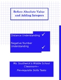 Tasks for Before you Teach Absolute Value and Adding Integers