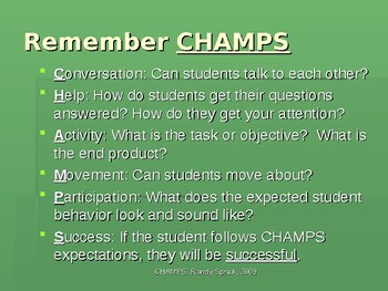 Tasks for Correcting Severe and Chronic Misbehavior CHAMPS Classroom Management