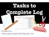 Tasks to Complete Log