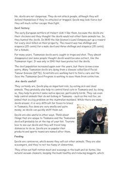 Tasmanian Devil Reading Passage and Questions
