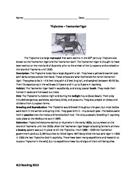 Tasmanian Tiger - Thylacine - Review article questions history facts