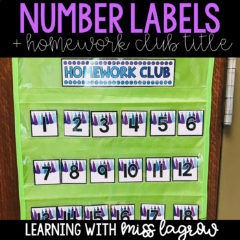 Tassel Blue Purple Classroom Number Labels with Homework Club Title
