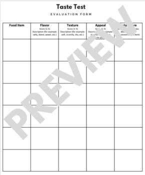 Taste Test Evaluation Form (Versatile..Culinary, Nutrition, Health or Business!)