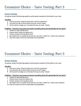 Taste Testing Activity - Consumer Choice - Intro to Business Ch. 22