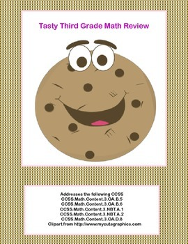 Tasty Third Grade Math Review- Worksheets that Addresses 5 of the CCSS