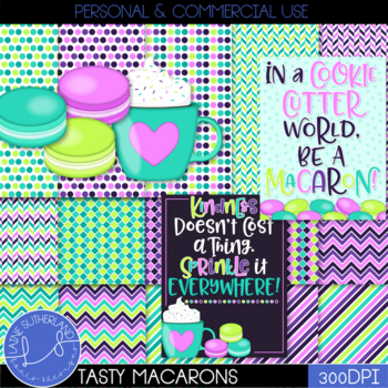 Tasty Treats Macaron & Coffee Digital Paper & Clip Art Set