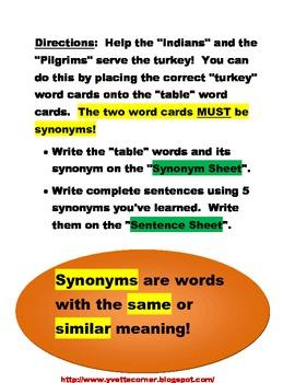 Tasty Turkey Synonyms! (K - 2)