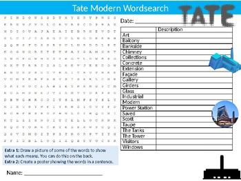 Tate Modern Gallery Wordsearch Sheet Starter Activity Keywords Art History