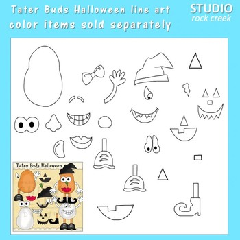 Tater Buds Potato Head Halloween Line Art  C. Seslar