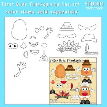 Tater Buds Potato Head Thanksgiving Line Art  C. Seslar