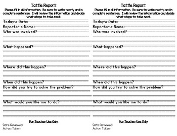 Tattle Report // tattle form for students to inform teachers