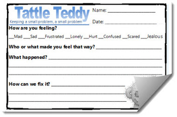 Tattle Teddy Reflection Template Sheets (Behavior Management Resource)