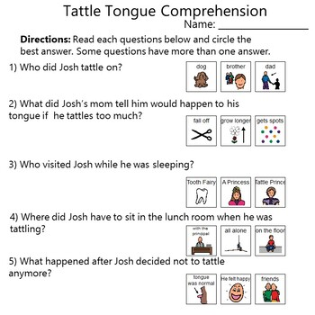 Tattle Tongue Social Lesson