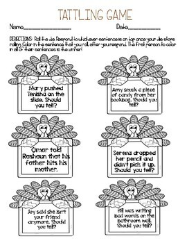 November Make Your Own Dice Game about Tattling