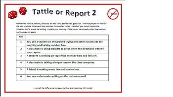 Tattle or Report Roll-A-Die 1 and 2