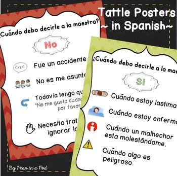 Tattling Posters in Spanish!