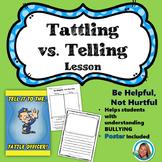 Tattling VS Reporting Sort Lesson | Poster