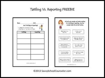 Tattling Vs. Reporting- Savvy School Counselor