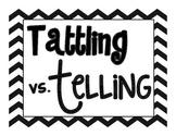 Tattling Vs. Telling Classroom Chevron Signs