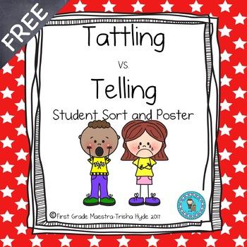 Tattling Vs. Telling Student Sort and Poster
