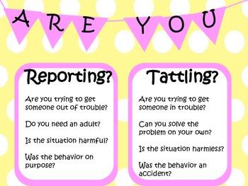 Tattling vs Reporting