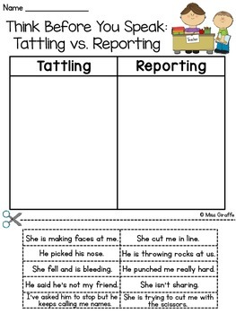 tattling vs reporting by miss giraffe teachers pay teachers. Black Bedroom Furniture Sets. Home Design Ideas