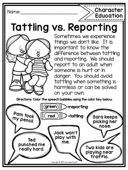 Tattling Vs Reporting Freebie By Curriculum Castle Tpt