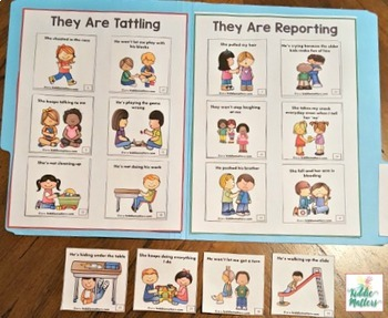 Guidance Lesson: Tattling vs. Reporting File Folder Sorting Activity