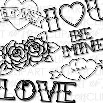 Tattoo Love Clip Art (Digital Use Ok!)
