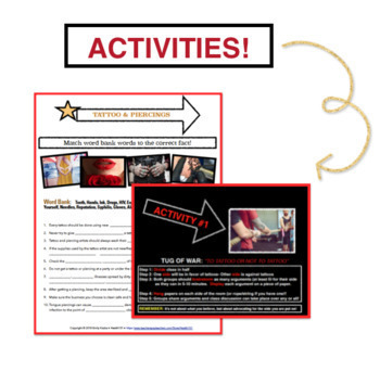 Tattoos & Piercings Safety: Activity, Worksheet, Powerpoint and Key