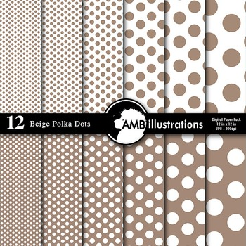Digital Papers - Taupe colored Dot papers and backgrounds,AMB-580