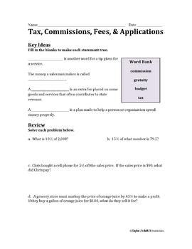 Tax, Commissions, Fees, and Applications Worksheet