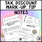 Sales Tax Discount Mark up and Tip Notes