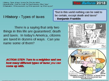 Tax History & Tax Reform 2018, an overview - 32 Engaging slides (with handouts)