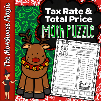 Tax Rate & Total Price Math Puzzle - Rudolph!