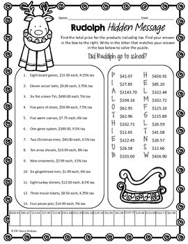 TAX RATE & TOTAL PRICE COMMON CORE MATH PUZZLE, HOLIDAY MATH