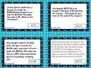 Tax, Tip, Commission, Interest Task/Flash Cards