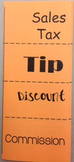 Tax, Tip, Discount, Commission Foldable