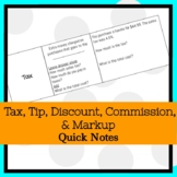Tax, Tip, Discount, Commission, & Markup Notes