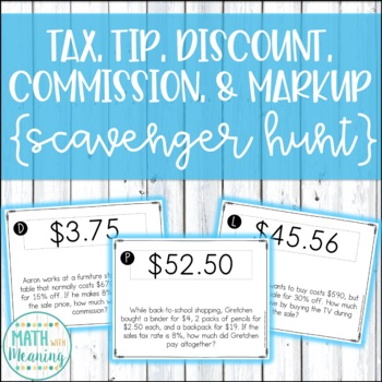 Tax, Tip, Discount, Commission, & Markup Scavenger Hunt Activity - CCSS 7.RP.A.3